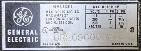 General Electric CR209C000BAJ + CR360L313**AAZ-480