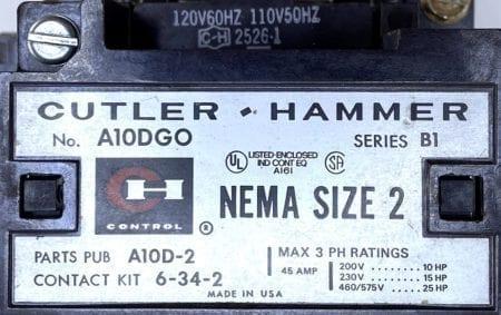 Cutler Hammer A10DGO-120