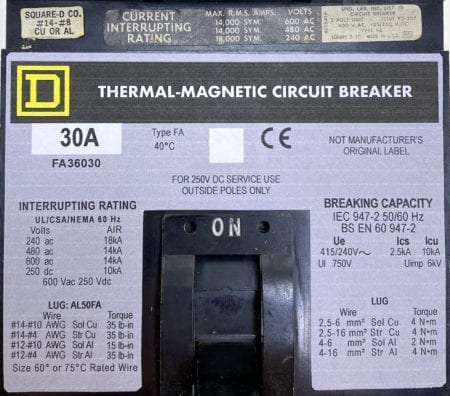 Square D FA36030-NML-GL-CHIP