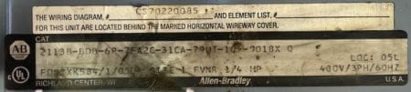 Allen Bradley 2113B-BDB-6P-EMPTY
