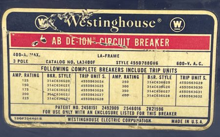 Westinghouse LA3400F-400-CHIP