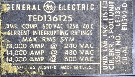 General Electric TED136125-BF