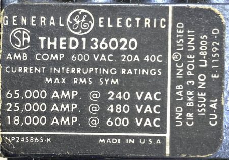 General Electric THED136020-BF