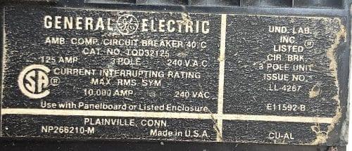 General Electric TQD32125