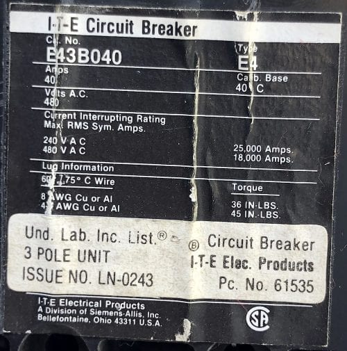 ITE Siemens E43B040