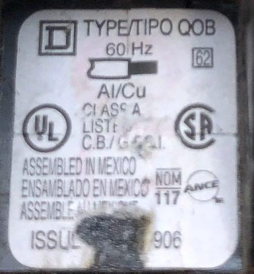 Square D QOB120GFI