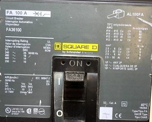 Square D FA36100-CL