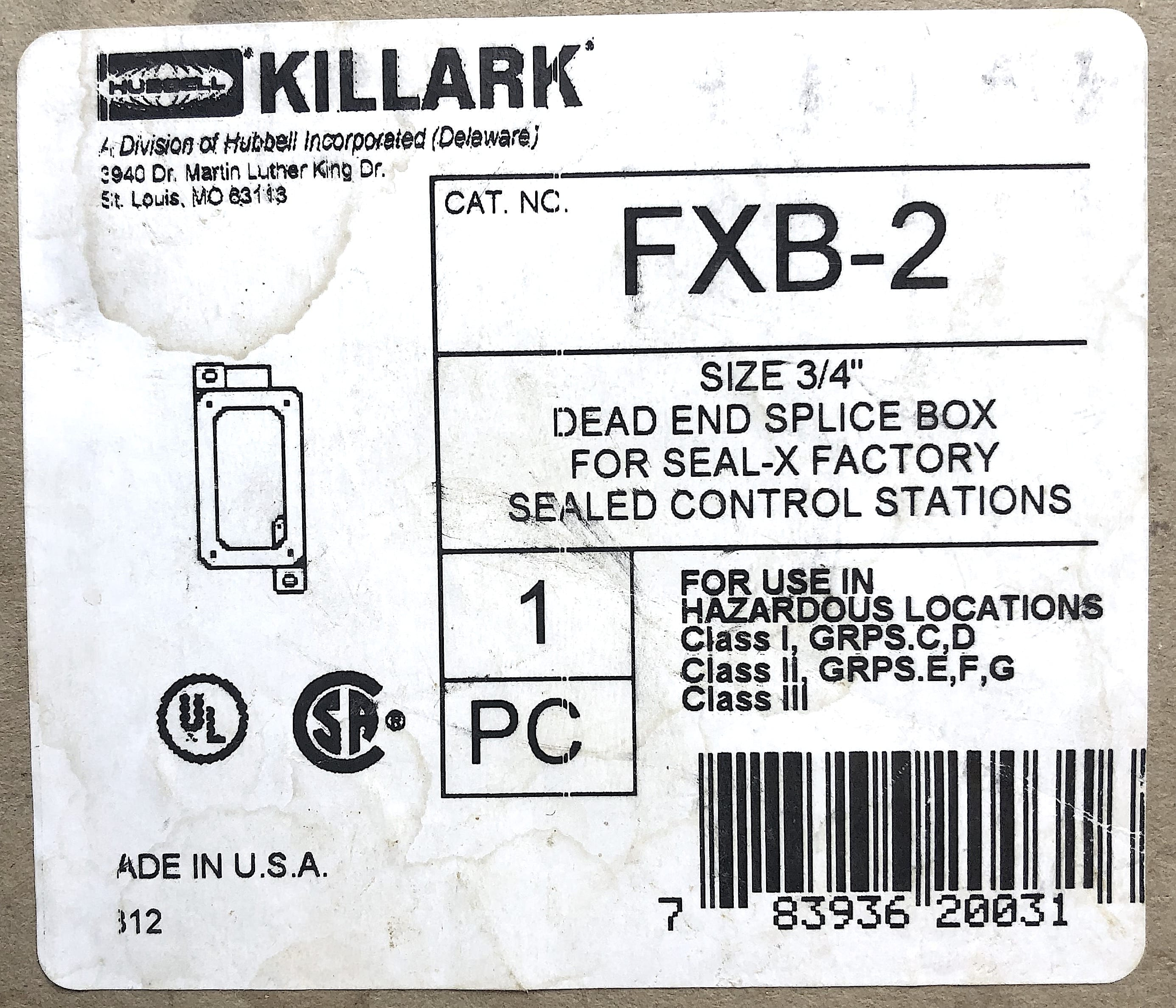 "Y3 NIB Hubbell Killark FXB-2 Size 3//4/"" Dead in Slice Box"
