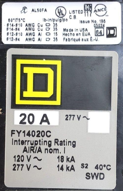 Square D FY14020C-NIB