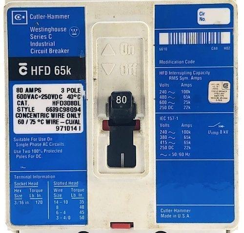 Cutler Hammer Westinghouse HFD3080L-BL