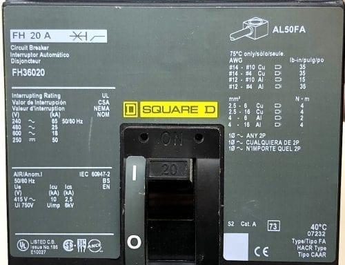 Square D FH36020-CL