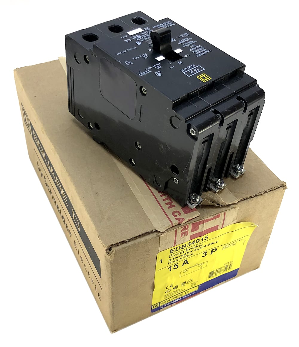 15 Amp 3 Pole 480 Volt Circuit Breaker Square D EDB34015 NEW No Box