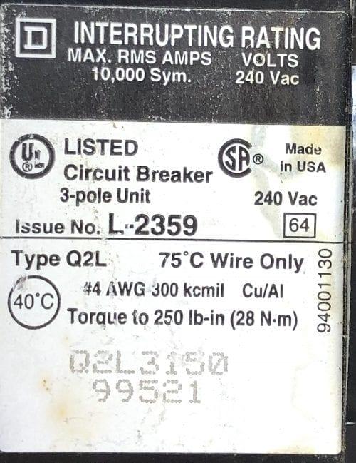 Square D Q2L3150