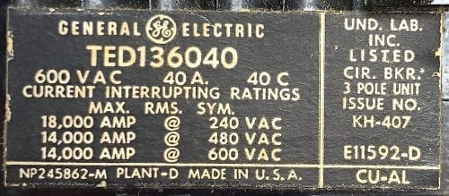General Electric TED136040-BF