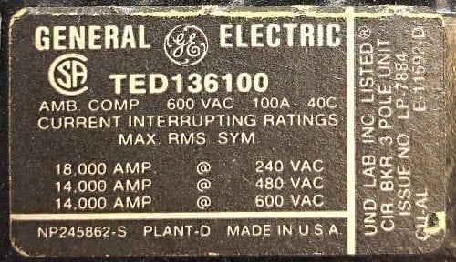 General Electric TED136100-BF