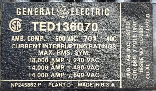 General Electric TED136070-BF