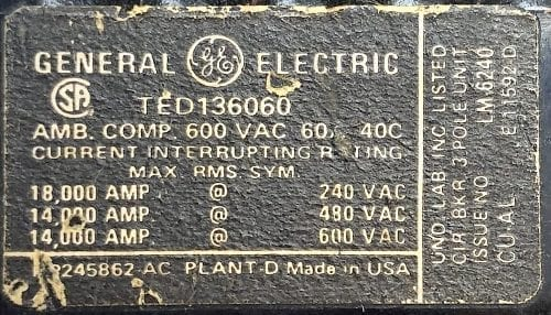 General Electric TED136060-BF