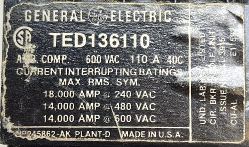 General Electric TED136110
