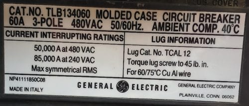 General Electric TLB134060