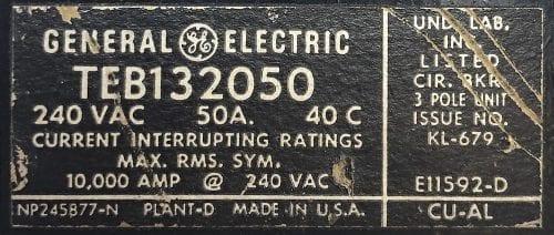General Electric TEB132050-BF