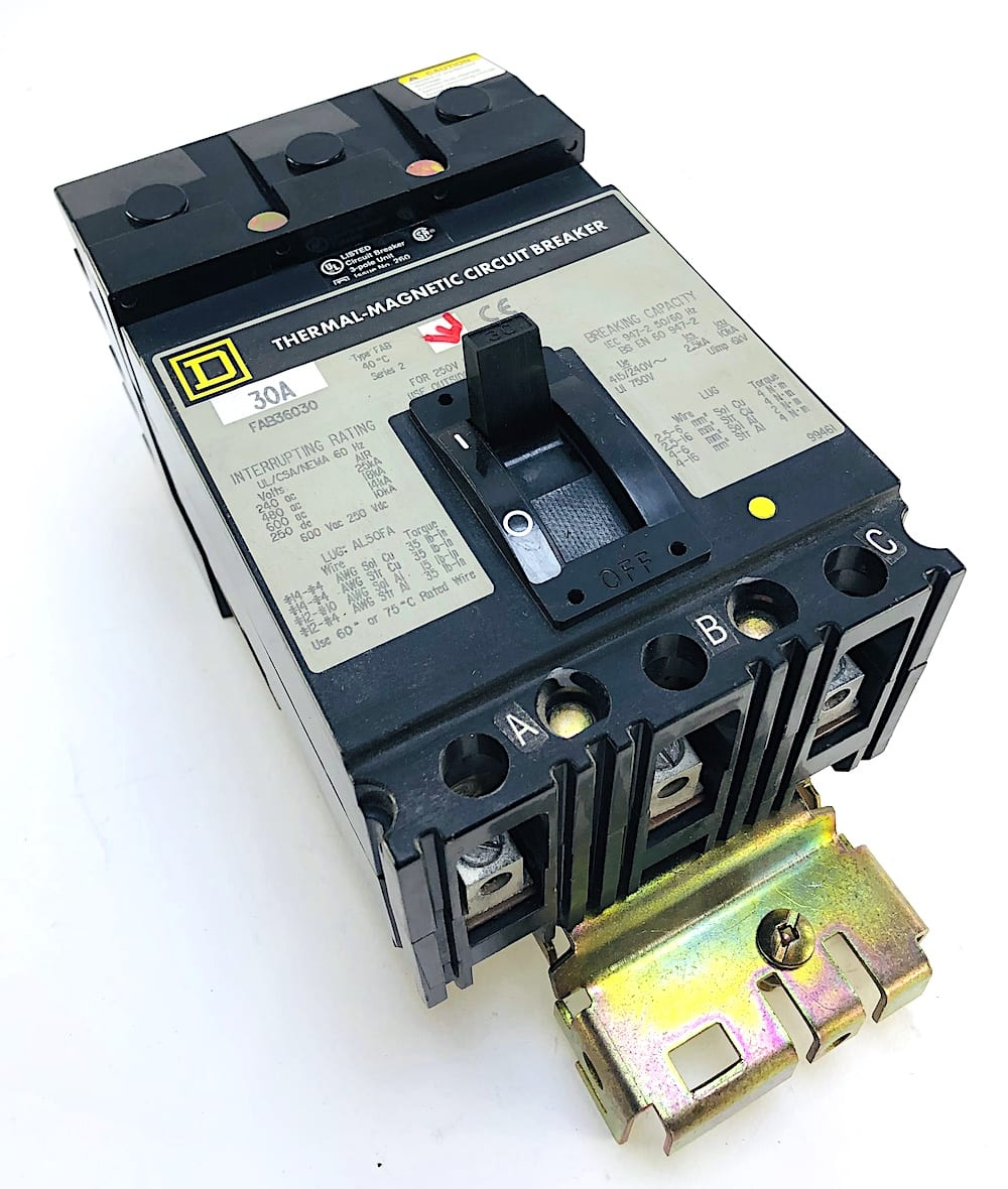 F3 Square D FAB36030 3 Pole 30 Amp 600 Vac Circuit Breaker
