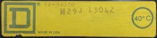 Square D FA34020-BF