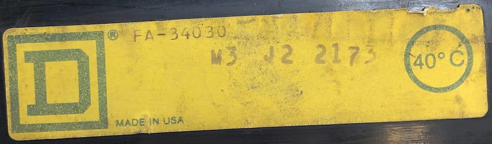 Square D FA34030-BF