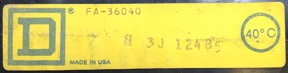 Square D FA36040-BF