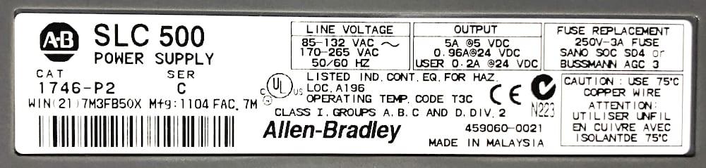 Allen Bradley 1746-P2-13S