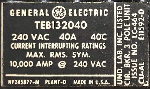 General Electric TEB132040-BF