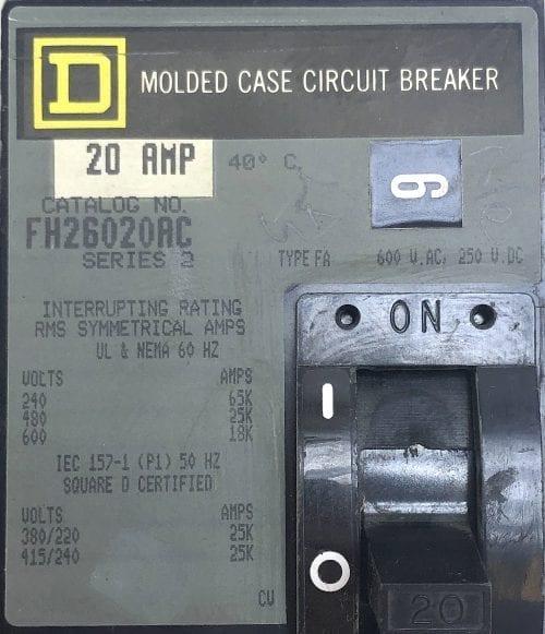 Square D FH26020AC-GL