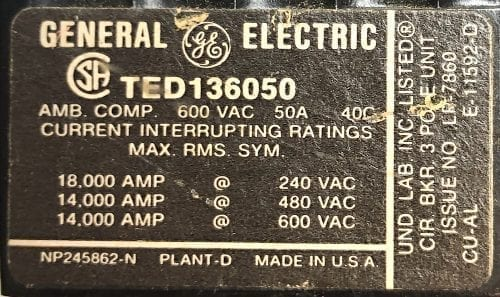 General Electric TED136050-BF