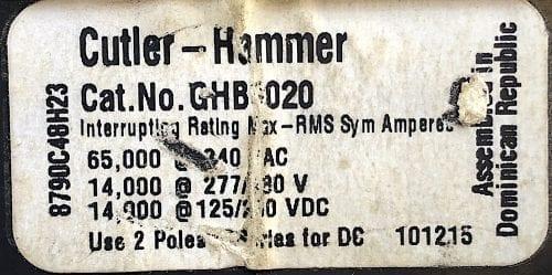 Cutler Hammer GHB3020