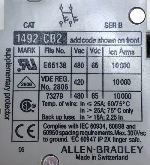 Allen Bradley 1492-CB2G050